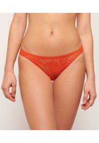 Pomarańczowe figi Etam w koronkowe wzory