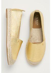 Złote espadryle Lauren Ralph Lauren z cholewką, na obcasie, z okrągłym noskiem