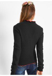 Sweter rozpinany ludowy z falbankami bonprix czarno-truskawkowy. Typ kołnierza: kołnierz z falbankami. Kolor: czarny
