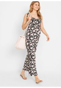 Czarny kombinezon bonprix w kwiaty, moda ciążowa