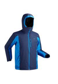 WEDZE - Kurtka narciarska 180 męska. Kolor: niebieski. Materiał: skóra, materiał. Sezon: zima. Sport: narciarstwo