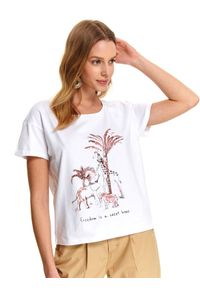 Biały t-shirt TOP SECRET na co dzień, krótki, na lato, casualowy