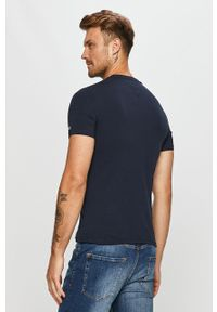 Niebieski t-shirt Tommy Jeans z okrągłym kołnierzem, z nadrukiem