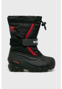 Czarne buty zimowe sorel na zimę, z okrągłym noskiem