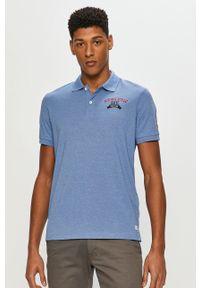 Niebieska koszulka polo PRODUKT by Jack & Jones krótka, gładkie