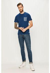 Niebieski t-shirt PRODUKT by Jack & Jones na co dzień, z nadrukiem, z okrągłym kołnierzem, casualowy