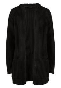 Sweter bez zapięcia z kapturem bonprix Sweter bez zap z kapt cz. Typ kołnierza: kaptur. Kolor: czarny. Długość: długie