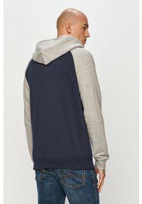 Niebieska bluza rozpinana Quiksilver z kapturem, raglanowy rękaw, z nadrukiem