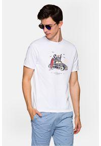 Lancerto - Koszulka Biała Reggie. Okazja: na co dzień. Kolor: biały. Materiał: włókno, materiał, bawełna. Wzór: aplikacja, nadruk. Styl: klasyczny, elegancki, casual