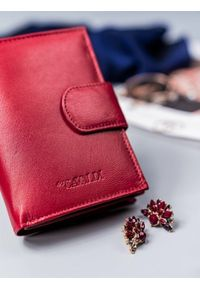 4U CAVALDI - Portfel damski czerwony Cavaldi RD-05-GCL RED. Kolor: czerwony. Materiał: skóra
