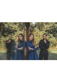 Niebieska sukienka VEVA z koszulowym kołnierzykiem, szmizjerki, do pracy