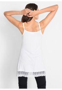 Biały top bonprix na ramiączkach, w koronkowe wzory