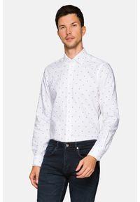 Lancerto - Koszula Biała z Nadrukiem Delilah. Kolor: biały. Materiał: jeans, bawełna, wełna, tkanina, włókno. Wzór: nadruk