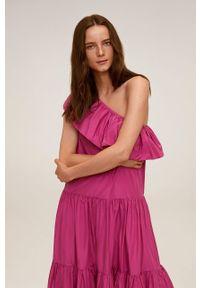 Różowa sukienka mango na ramiączkach, casualowa