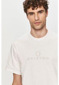 Biały t-shirt Brixton z nadrukiem, casualowy
