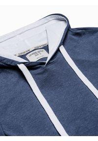 Ombre Clothing - T-shirt męski z kapturem bez nadruku S1376 - niebieski melanż - XXL. Okazja: na co dzień. Typ kołnierza: kaptur. Kolor: niebieski. Materiał: bawełna, jersey, dzianina. Wzór: melanż. Styl: klasyczny, casual