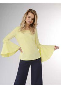 Nommo - Żółta Wizytowa Bluzka z Hiszpańskim Rękawem. Kolor: żółty. Materiał: wiskoza, poliester. Styl: wizytowy
