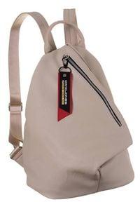 DAVID JONES - Plecak damski beżowy David Jones CM6008 BEIGE. Kolor: beżowy. Materiał: skóra ekologiczna