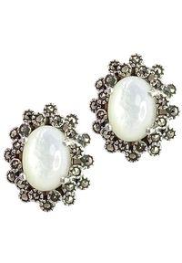 Braccatta - ROMA Srebrne kolczyki markazyty masa perłowa owal sztyft. Materiał: srebrne. Kolor: srebrny, biały, wielokolorowy. Wzór: geometria. Kamień szlachetny: markazyt, perła