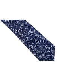 Modini - Granatowy krawat męski w paisley C23. Kolor: niebieski. Materiał: tkanina, mikrofibra. Wzór: paisley