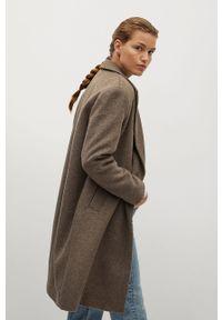 Brązowy płaszcz mango bez kaptura, klasyczny, na co dzień