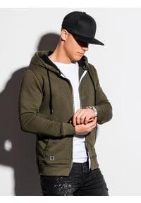 Ombre Clothing - Bluza męska rozpinana z kapturem B1223 - khaki - XXL. Typ kołnierza: kaptur. Kolor: brązowy. Materiał: bawełna, poliester