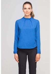 Niebieska bluzka z długim rękawem Lanti ze stójką