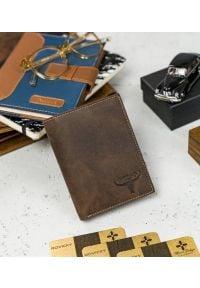 BUFFALO WILD - Skórzany portfel męski brązowy Buffalo Wild RM-04-HBW BROWN. Kolor: brązowy. Materiał: skóra