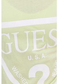 Guess - T-shirt. Okazja: na co dzień. Kolor: wielokolorowy, zielony, żółty. Materiał: dzianina, bawełna. Wzór: nadruk. Styl: casual #4