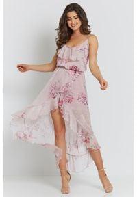 e-margeritka - Sukienka szyfonowa midi z falbanami - 34. Typ kołnierza: dekolt kopertowy. Materiał: szyfon. Długość rękawa: na ramiączkach. Typ sukienki: kopertowe, asymetryczne. Styl: elegancki. Długość: midi