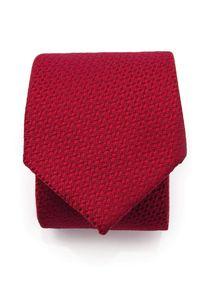 Adam Collection - Czerwony krawat męski, strukturalny materiał D297. Kolor: czerwony. Materiał: materiał. Wzór: gładki