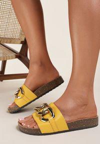 Renee - Żółte Klapki Temoni. Okazja: na co dzień. Nosek buta: okrągły. Kolor: żółty. Wzór: aplikacja. Styl: casual
