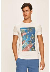 Biały t-shirt Blend z okrągłym kołnierzem, casualowy, na co dzień, z nadrukiem