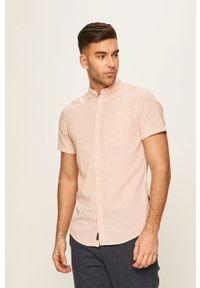 Różowa koszula Blend krótka, ze stójką