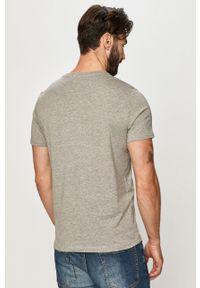 Szary t-shirt Jack & Jones z nadrukiem, casualowy