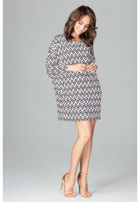 e-margeritka - Sukienka o luźnym kroju z nadrukiem - s/m. Materiał: tkanina, poliester, materiał, elastan. Wzór: nadruk. Sezon: lato. Typ sukienki: oversize, wyszczuplające