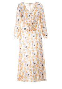 Born2be - Pomarańczowa Sukienka Doryrianne. Kolor: pomarańczowy. Materiał: materiał. Długość rękawa: długi rękaw. Wzór: nadruk. Typ sukienki: kopertowe. Długość: maxi