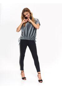 Srebrna bluzka TOP SECRET z krótkim rękawem, na jesień, elegancka