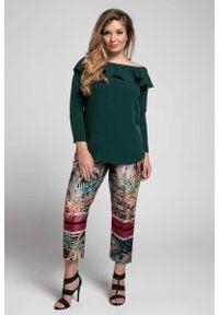 Nommo - Zielona Bluzka ze Zmysłowym Hiszpańskim Dekoltem PLUS SIZE. Kolekcja: plus size. Kolor: zielony. Materiał: wiskoza, poliester