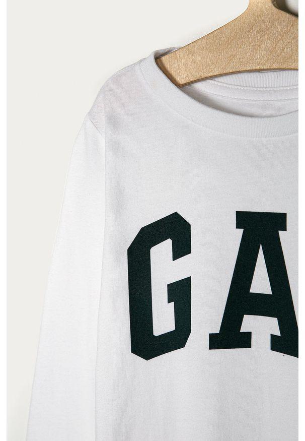 Biała koszulka z długim rękawem GAP casualowa, z okrągłym kołnierzem, na co dzień