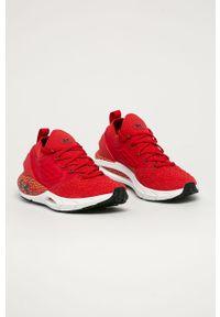 Czerwone buty sportowe Under Armour z cholewką, do biegania, z okrągłym noskiem, na sznurówki