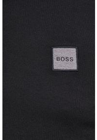 BOSS - Boss - Longsleeve. Kolor: czarny. Materiał: dzianina. Długość rękawa: długi rękaw. Wzór: gładki