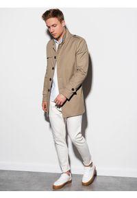 Beżowy płaszcz Ombre Clothing elegancki, ze stójką, na wiosnę #7