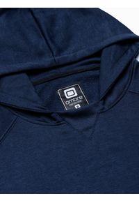 Ombre Clothing - Bluza męska z kapturem B1085 - granatowa - XXL. Typ kołnierza: kaptur. Kolor: niebieski. Materiał: poliester, bawełna #4