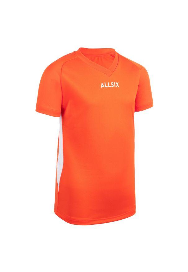 ALLSIX - Koszulka siatkarska dla chłopców Allsix V100. Kolor: pomarańczowy, wielokolorowy, biały. Materiał: poliester, materiał