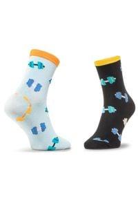 Dots Socks - Skarpety Wysokie Unisex DOTS SOCKS - DTS-SX-495-X Czarny Niebieski. Kolor: czarny, wielokolorowy, niebieski. Materiał: elastan, poliamid, bawełna, materiał