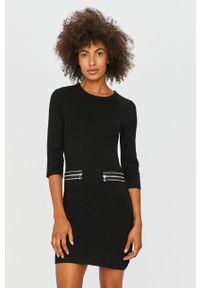 Czarna sukienka Morgan casualowa, na co dzień, z okrągłym kołnierzem, mini