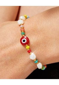 BONK IBIZA - Bransoletka z pereł i koralików Erica. Materiał: szklane, pozłacane, metalowe. Kolor: biały. Kamień szlachetny: perła