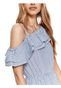 TOP SECRET - Asymetryczna sukienka w paski z falbanami. Kolor: biały. Wzór: paski. Typ sukienki: asymetryczne
