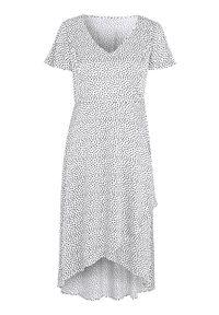 Cellbes Satynowa sukienka w kropki biały Czarny w kropki female biały/czarny/ze wzorem 46/48. Typ kołnierza: dekolt w serek. Kolor: wielokolorowy, biały, czarny. Materiał: satyna. Wzór: kropki. Typ sukienki: kopertowe. Styl: elegancki
